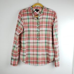 J. Crew 1/2 Button Down Spring Plaid Popover Top
